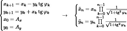 \[\begin{cases} x_{k + 1} = x_{k} - y_{k}\tg \varphi_{k} \\ y_{k + 1} = y_{k} + x_{k}\tg \varphi_{k} \\ x_{0} = A_x \\ y_{0} = A_y \\ \end{cases} \quad \to \quad  \begin{cases} %A'_x \approx  \tilde{x}_{n} = x_{n} \prod\limits_{k = 0}^{n - 1} \frac{1}{\sqrt{1 + \tg^2 \varphi_k}} \\  %A'_y \approx  \tilde{y}_{n} = y_{n} \prod\limits_{k = 0}^{n - 1} \frac{1}{\sqrt{1 + \tg^2 \varphi_k}} \\  \end{cases}\]