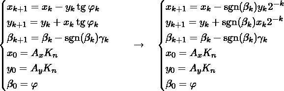 \[\begin{cases} x_{k + 1} = x_{k} - y_{k}\tg \varphi_{k} \\ y_{k + 1} = y_{k} + x_{k}\tg \varphi_{k} \\ \beta_{k + 1}     = \beta_{k}     - \sgn(\beta_k)\gamma_k \\ x_{0}     = A_x K_{n} \\ y_{0}     = A_y K_{n} \\ \beta_0 = \varphi\\ \end{cases}  \quad \to \quad  \begin{cases} x_{k + 1} = x_{k} - \sgn(\beta_k)y_{k}2^{-k} \\ y_{k + 1} = y_{k} + \sgn(\beta_k)x_{k}2^{-k} \\ \beta_{k + 1}     = \beta_{k}     - \sgn(\beta_k)\gamma_k \\ x_{0}     = A_x K_{n} \\ y_{0}     = A_y K_{n} \\ \beta_0 = \varphi\\ \end{cases}\]