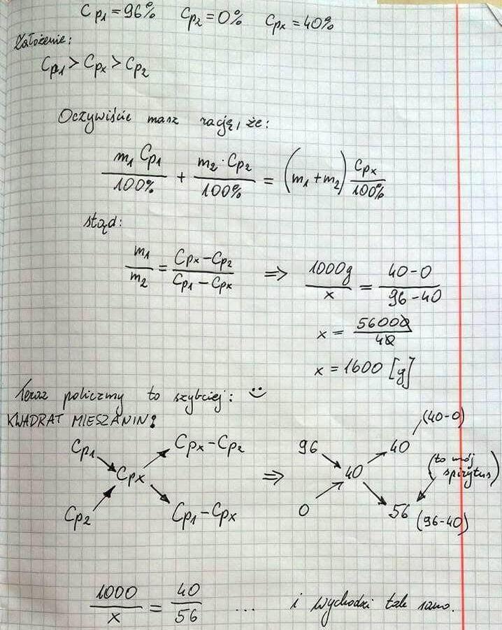 Obliczenia procentowe mieszaniny roztworów o różnym stężeniu