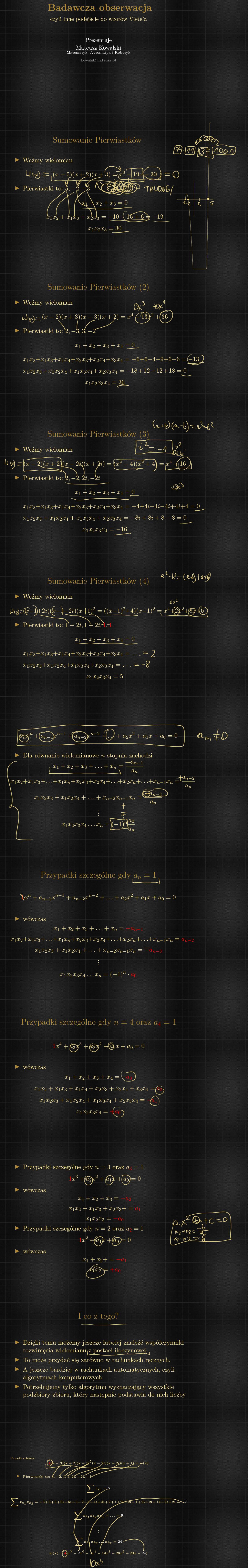 co oznaczają współczynniki w równaniu wielomianowym