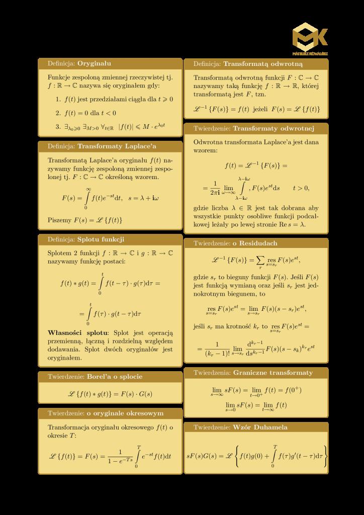 Transformacja Laplace'a przekształcenie laplace'a