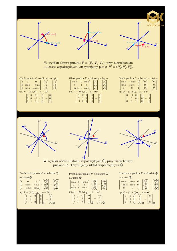 macierz obrotu, macierz rotacji, obrót punktu w przestrzni 3D, obrót układu współrzednych, zmiana bazy, algebra liniowa